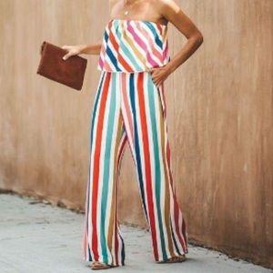 VICI Rainbow Strapless Jumpsuit